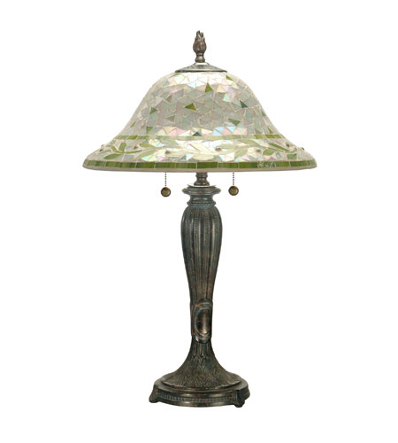 Dale Tiffany Green Mosaic 2 Light Table Lamp in Fieldstone TT70749 photo