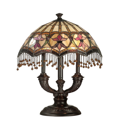 Dale Tiffany Tiffany De Fleur Table Lamp 2 Light in Antique Brown TT80070 photo