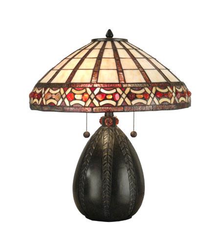 Dale Tiffany Tiffany Pebblestone Table Lamp 2 Light in Antique Bronze TT90019 photo