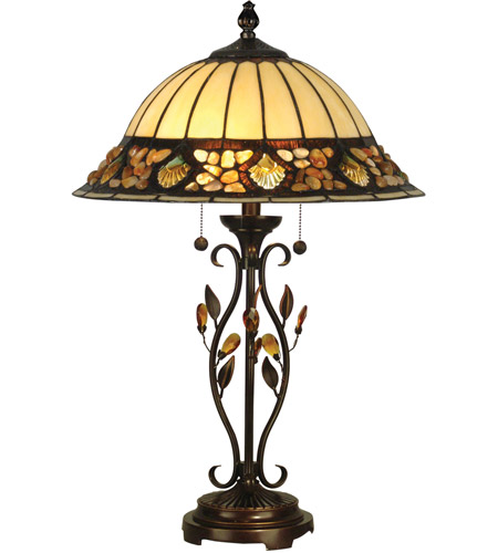 Dale Tiffany Pebblestone Table Lamp 2 Light in Antique Golden Sand TT90172 photo