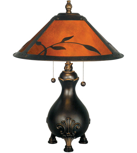 Dale Tiffany Mica Leafs Table Lamp 2 Light in Antique Golden Sand TT90193 photo