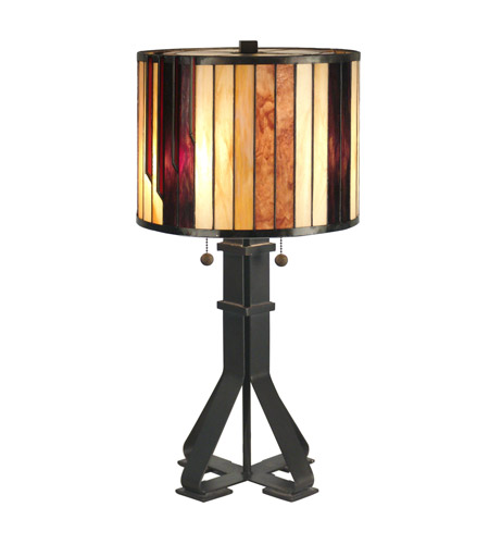 Dale Tiffany TT90273 Geometric 26 inch 60 watt Dark Antique Bronze Table Lamp Portable Light photo