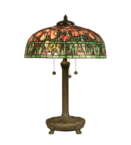 Dale Tiffany Tiffany 3 Light Table Lamp in Antique Verde TT90423 photo