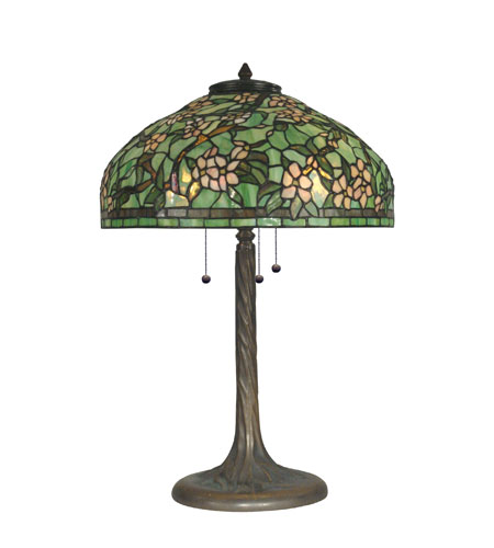 Dale Tiffany Tiffany 3 Light Table Lamp in Antique Verde Green TT90424 photo