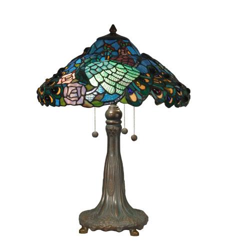 Dale Tiffany Peacock Tiffany Replica Table Lamp 3 Light in Antique Bronze/Verde TT90431 photo