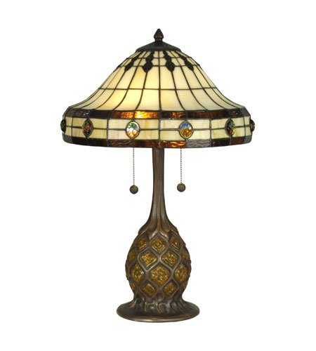 Dale Tiffany Tiffany 2 Light Table Lamp in Antique Bronze/Verde TT90432 photo