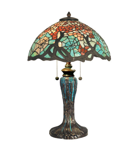 Dale Tiffany Cobweb Tiffany Table Lamp 2 Light in Antique Bronze/Verde TT90510 photo
