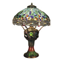 Dale Tiffany Blue Dragonfly 3+1 Light Table Lamp in Antique Verde -0007/273E