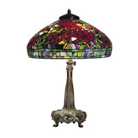 Dale Tiffany Red Peony 3 Light Table Lamp in Antique Bronze -0022/272