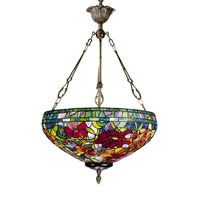 Dale Tiffany Red Peony 3 Light Inverted Pendant in Antique Brass -0022/3LTH