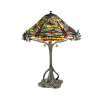 Dale Tiffany Floral Dragonfly 3 Light Table Lamp in Antique Bronze -0051