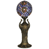 Dale Tiffany 0073 Globe Peacock Replica 24 inch 40 watt Antique Bronze Table Lamp Portable Light