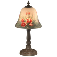 Rose 15 inch 60 watt Antique Bronze Plating Accent Lamp Portable Light in Hand Painted Art Glass
