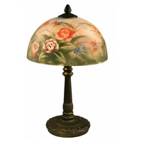 Rose 16 inch 40 watt Antique Bronze Table Lamp Portable Light in Hand Painted Glass, 2