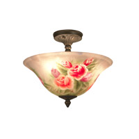 Dale Tiffany Rose Semi Flushmount 3 Light in Antique Brass 10084/3LTF photo thumbnail