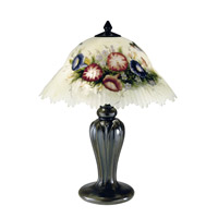 Humingbird Flower 19 inch 60 watt Antique Bronze Table Lamp Portable Light