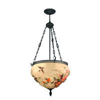 Dale Tiffany Rose Hummingbird Fixture 3 Light in Antique Bronze Paint 10218/3LTE photo thumbnail