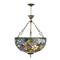Dale Tiffany Magnolia Replica Inverted Fixture 3 Light in Antique Brass 1051/3LTH