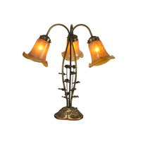 Dale Tiffany Gold Tulip Table Lamp 3 Light in Antique Gold 1405 photo thumbnail