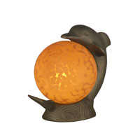 Dale Tiffany Dolphin Accent Lamp 1 Light in Antique Brass Plating 1610 photo thumbnail
