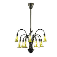 Dale Tiffany Gold Lily 12 Light Chandelier in Bronze 1704/375