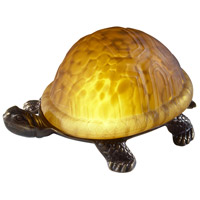 Turtle 4 inch 15 watt Amber and Antique Brass Accent Lamp Portable Light