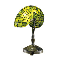 Dale Tiffany Green Nautilus Table Lamp 1 Light in Antique Bronze Paint 2115/177 photo thumbnail