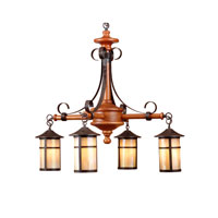 Round Lantern 4 Light 30 inch Oak  Pendant Ceiling Light
