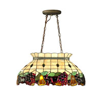 Dale Tiffany Fruit Pool Table Hanging Fixture 2 Light in Antique Brass 3207/2LTG