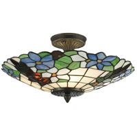 Dale Tiffany 3660/3LTF Pansy 3 Light 16 inch Antique Brass Semi Flush Mount Ceiling Light