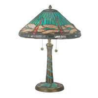 Dale Tiffany Blue Cone Dragonfly 2 Light Table Lamp in Antique Bronze 3666/206
