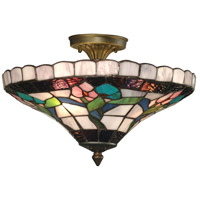 Dale Tiffany 7096/3LTF Hollyhock 3 Light 15 inch Antique Brass Plating Flush Mount Ceiling Light photo thumbnail