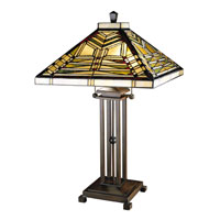 Dale Tiffany Aurora Mission 2 Light Table Lamp in Antique Bronze 7431/758
