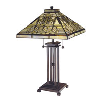 Dale Tiffany Oak Park Mission 2 Light Table Lamp in Antique Bronze/Verde 7438/758
