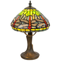 Dragonfly 11 inch 60 watt Antique Brass Accent Lamp Portable Light