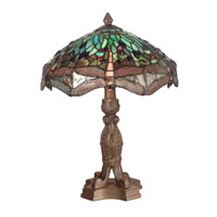 Dale Tiffany Dragonfly With Platform Base Table Lamp 2 Light in Antique Bronze Plating 7703/637