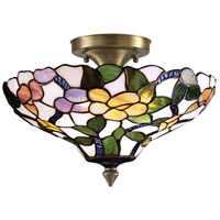 Dale Tiffany 7966/3LTF Peony 3 Light 15 inch Antique Brass Semi Flush Mount Ceiling Light