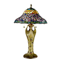 Dale Tiffany Peacock Tail 3+1 Light Table Lamp in Antique Bronze 7976/291 photo thumbnail
