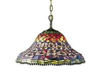 Dale Tiffany Peacock Tail 3 Light Pendant in Antique Brass 7976/3LTA
