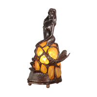 Dale Tiffany Amber Mermaid Accent Lamp 1 Light in Antique Bronze Paint 84227 photo thumbnail