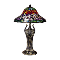 Dale Tiffany Peacock Tail Replica Table Lamp 2 Light in Antique Bronze 8503/215