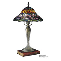 Dale Tiffany Peacock Tail Table Lamp 2 Light in Fieldstone 8503/767 photo thumbnail