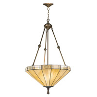 Dale Tiffany Umbrella Filigree Hanging Fixture 3 Light in Antique Brass Plating 8642/3LTJ