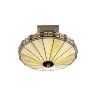 Dale Tiffany 8644/2LTF Mission 2 Light 16 inch Antique Bronze Paint Flush Mount Ceiling Light