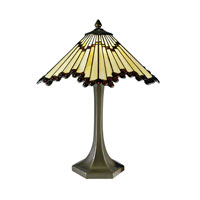 Dale Tiffany Geo Cone With Jewel 2 Light Table Lamp in Antique Bronze 8726/575