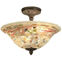 Dale Tiffany Bradshaw Mosaic Flush Mount 3 Light in Antique Brass Plating 8780/3LTF