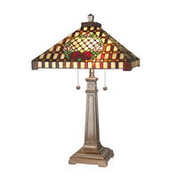 Dale Tiffany Mission Rose Table Lamp 2 Light in Antique Bronze Paint 8920/739