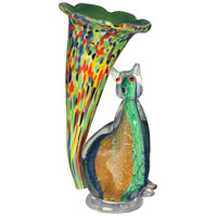 Cat Lily Favrile 10 inch 7 watt Accent Lamp Portable Light