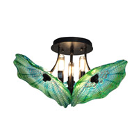 Waterfront 3 Light 16 inch Dark Bronze Flush Mount Ceiling Light