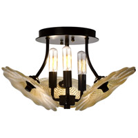 Feather 3 Light 16 inch Beige and Tiffany Bronze Semi-Flush Mount Ceiling Light